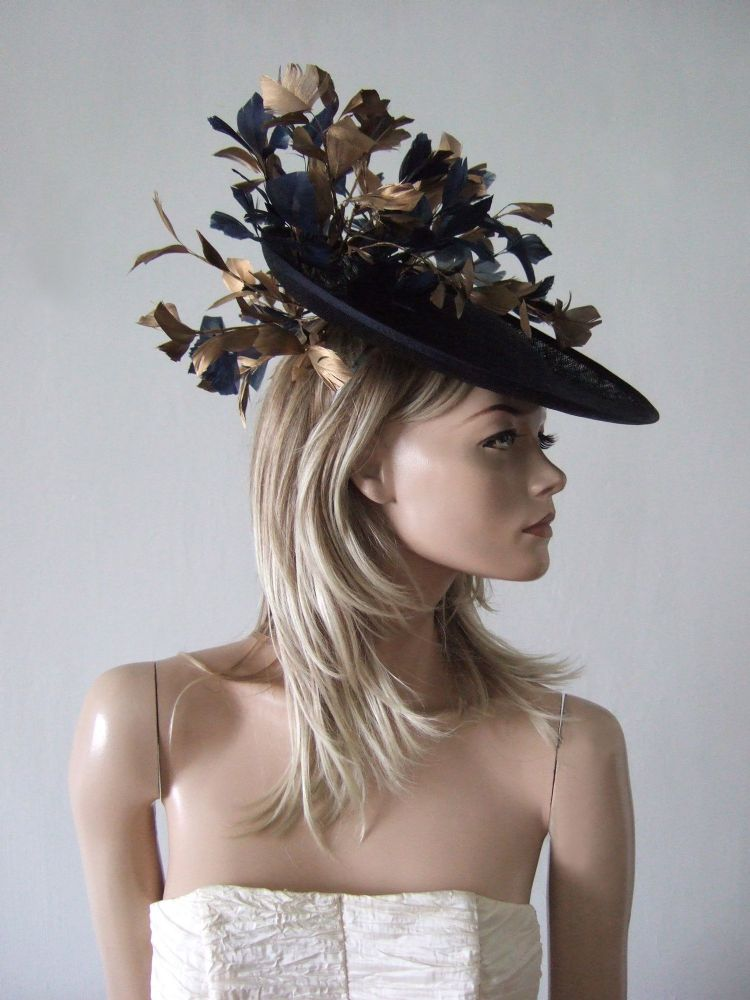 Dark Navy and Gold Saucer Feather Tree Hat Headpiece Fascinator - Royal Ascot - Mother of the Bride